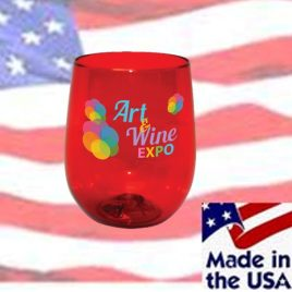 Bulk Full Color Printed 12oz Stemless Plastic Wine Glass