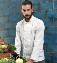 Unisex Studded Front Long-Sleeve Chef's Coat