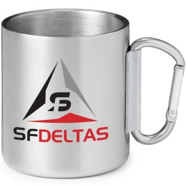 Scout-Bulk Custom Two Color Print 10oz Stainless Steel Camping Carabiner Mug