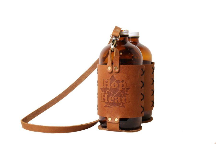 Bulk Custom Debossed Leather Tote for Two 32oz Growlers 2