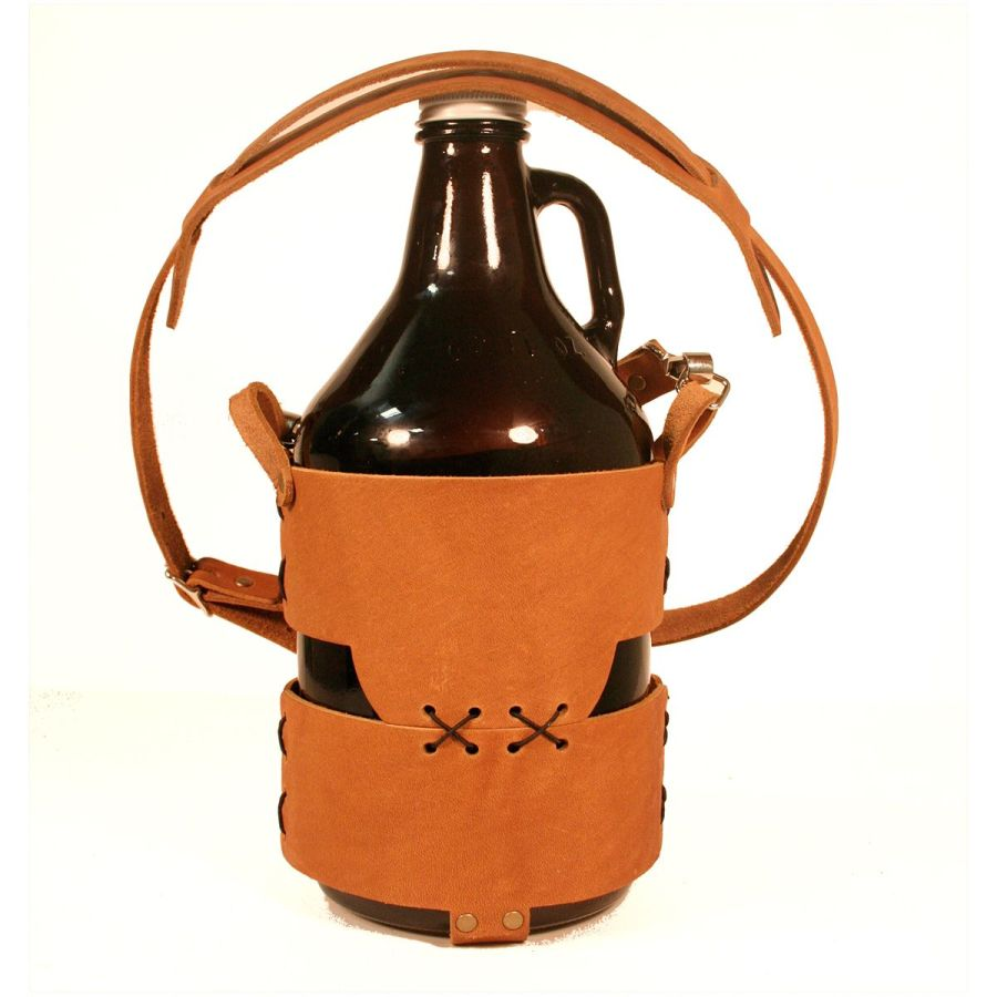 Bulk Custom Debossed Leather Tote with Strap for a 64oz Growler stitch