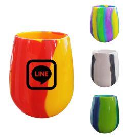 Ahi- Bulk Custom Printed Flexible Silicone Wine Glasses- Tie Dye