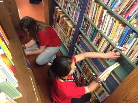 Teens volunteering at Book Barn