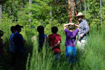 Staff teaching nature lesson