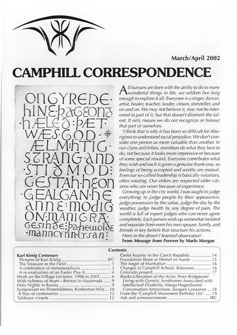 Camphill Correspondence March/April 2002