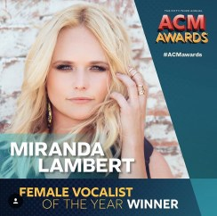 Miranda Lambert wins Female Vocalist at 2018 ACMs