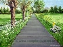 Terwijl de lente volop in bloei stond was dit weggetje een welkome afleiding in het heen en weer fietsen naar het academisch ziekenhuis30 x 40, © 2011, niet te koopTweedimensionaal   Schilderkunst   Olieverf   Op doek