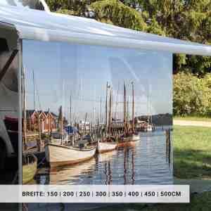 Markisensichtschutz Camping mit Motiv Hafen