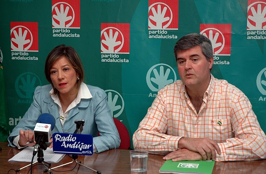 La portavoz andalucista, Encarna Camacho, en rueda de prensa.