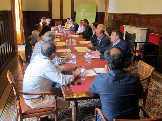 Ángel Vera explica a los alcaldes y representantes de los ayuntamientos los detalles de la resolución de las ayudas que se les ha entregado.