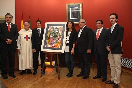 Eugenio Martínez, Domingo Conesa, Manuel Ángel Vázquez, Juka García, Jesús Estrella, José Carlos Millán y Pablo Fernández, con el cartel anunciador de la Romería de este año.