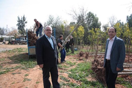 El alcalde de Andújar, Jesús Estrella, en la recepción de los primeros árboles.