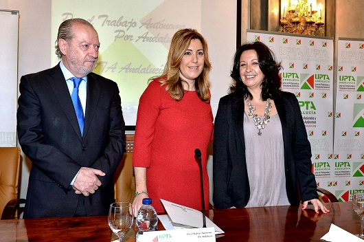 La presidenta de la Junta de Andalucía, Susana Díaz, durante el acto de la UPTA.