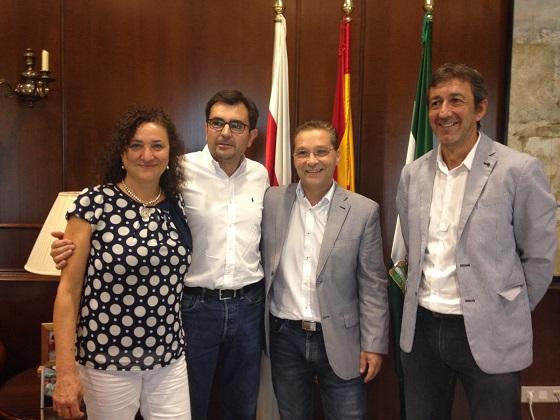 El alcalde de Andújar, Paco Huertas, junto a Juan Ángel Pérez Arjona, Francisco Plaza y María José Bueno.