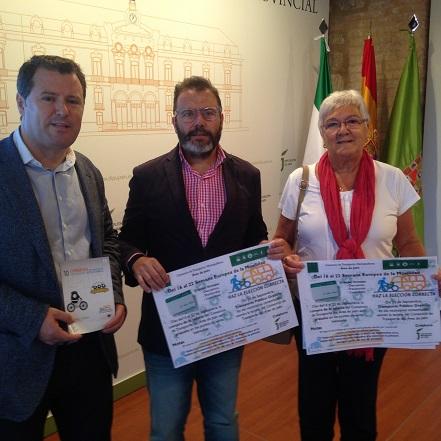 Pedro Bruno, Rafael Valdivielso y Ana María Quílez presentan la Semana Europea de la Movilidad 2015.