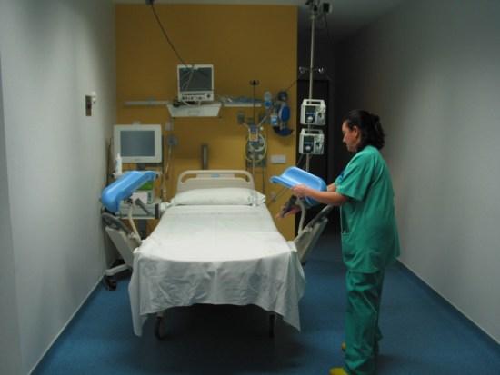 Sala de dilatación-paritorio en el Hospital Comarcal de Andújar.