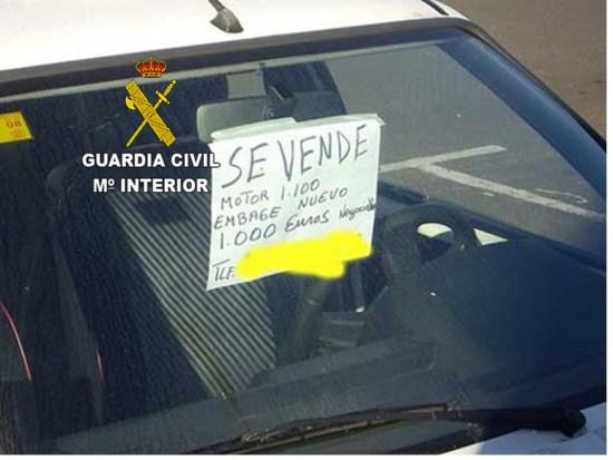 Método utilizado por el detenido para vender los vehículos. Foto: Guardia Civil.