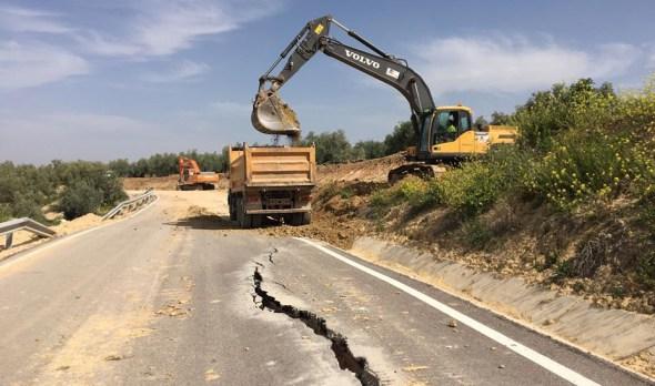 Carreteras dañadas por el temporal