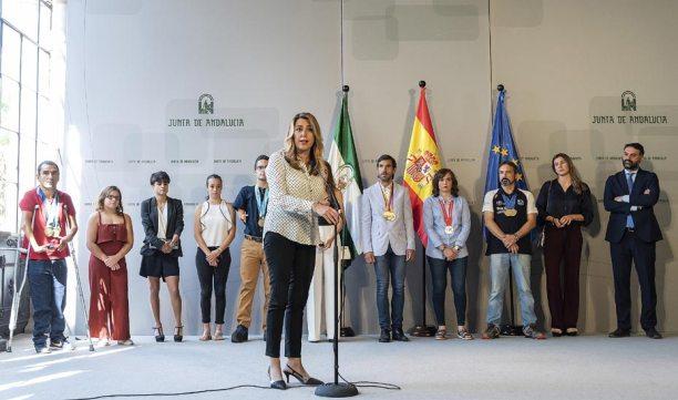 Susana Díaz con medallistas andaluces