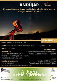 El Área de Turismo pone en marcha, en colaboración con Diputación Provincial, una observación astronómica en la Sierra de Andújar.