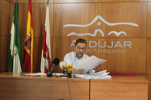 """Huertas demanda a la Junta de Andalucía """"trabajo conjunto"""" para el desarrollo del Centro Logístico Intermodal de Andújar."""