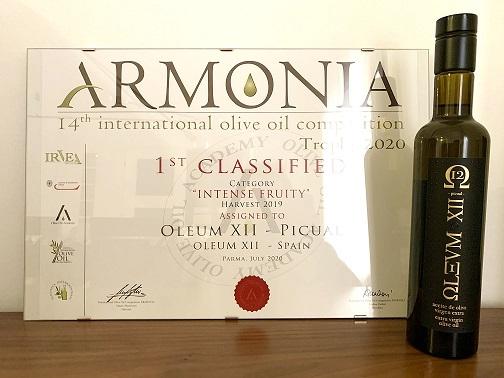 Oleum XII es elegido el mejor Picual del mundo en el Concurso Internacional 'Armonia' (Italia).