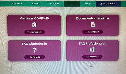 Salud crea una web con información actualizada sobre la campaña de vacunación del Covid-19.