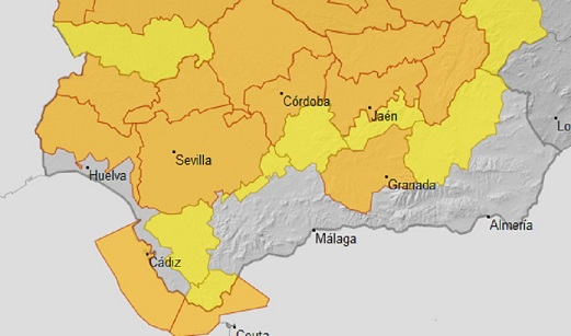 Previstos para mañana avisos naranjas por altas temperaturas en varias comarcas de cinco provincias andaluzas.