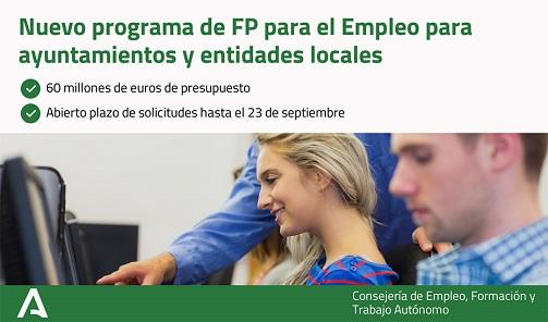 La Junta convoca 60 millones en ayudas para que entidades locales oferten FP para el Empleo.