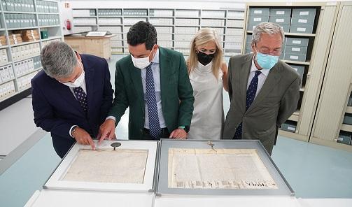 Juanma Moreno inaugura la sede definitiva del Archivo General de Andalucía, que deja de ser la única región sin ubicación para sus fondos documentales.