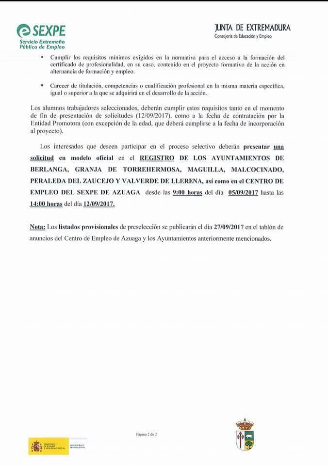 ABIERTO EL PLAZO DE PRESENTACIÓN DE SOLICITUDES PARA LA ESCUELA PROFESIONAL DE TURISMO DE BERLANGA