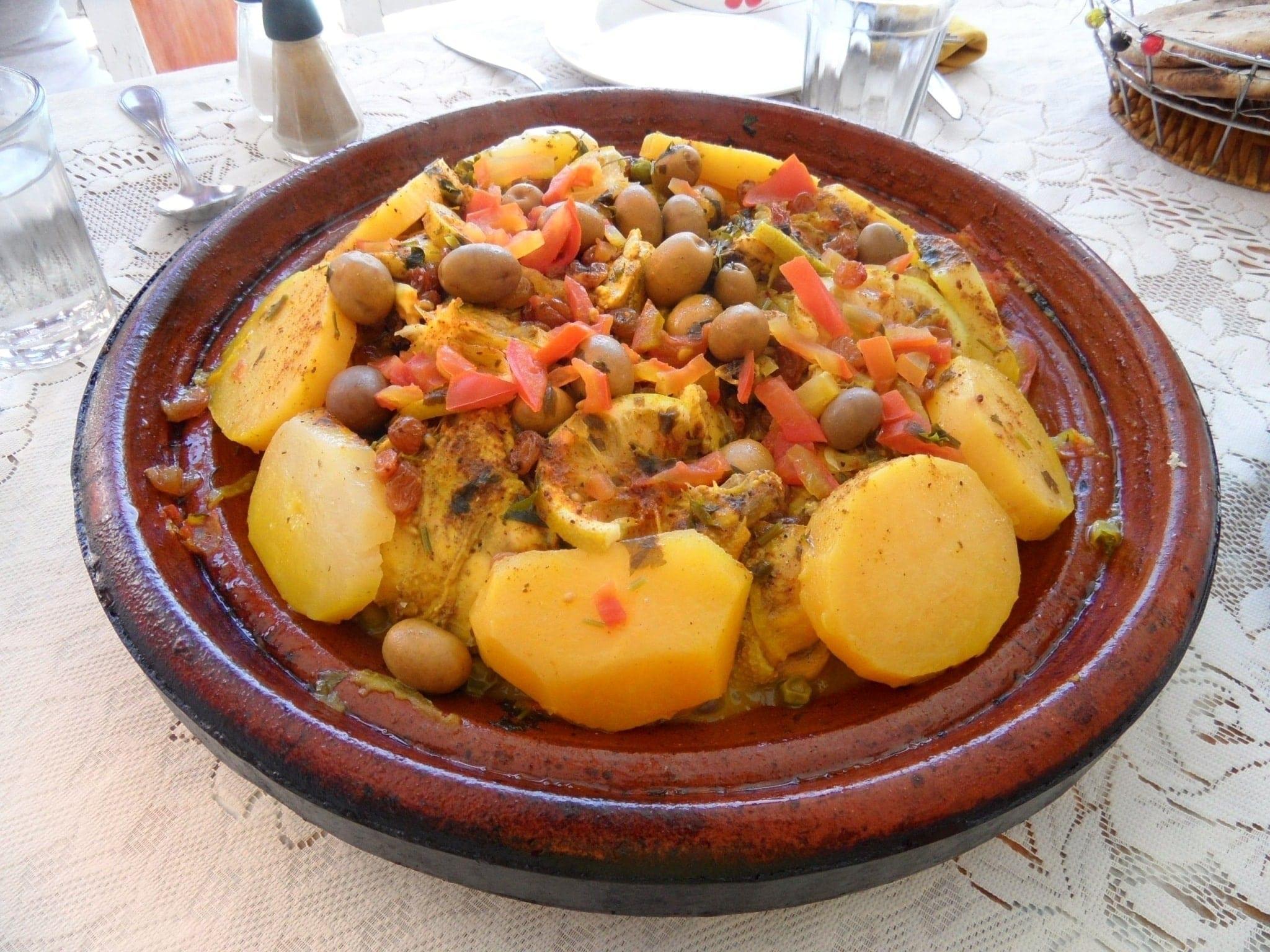 Moroccan Tajine at the restaurant Camping Aourir