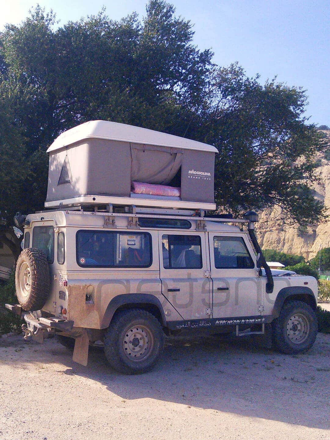 Camping Aourir – Land Rover Defender on the Campsite in Aourir