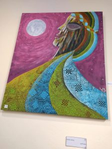 Painting by Fatima Akray at the art exhibition of Coopérative Artistique Féminine Talayte in Alma 2019.