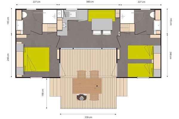 Mobilhome 2 chambres Casa Rhum, plan