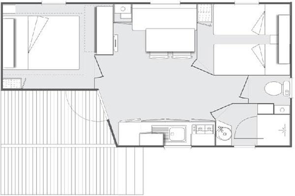 Mobilhome 2 chambres Roussane, plan