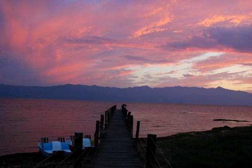Sonnenuntergang am Shkodrasee