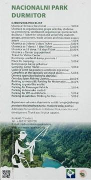 Preistafel Nationalpark Durmitor