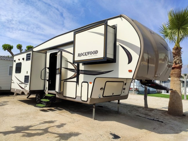 Rockwood Ultra Lite Fifth Wheel For Sale on Camping Almafra Campsite in Benidorm