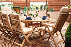 Teak garden furniture and wooden decking