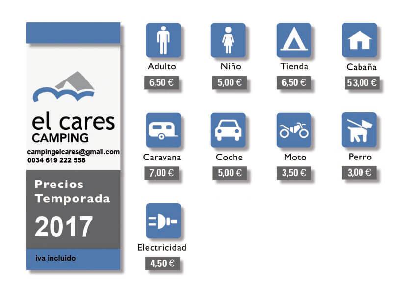 tarifas camping cares picos de europa 2017