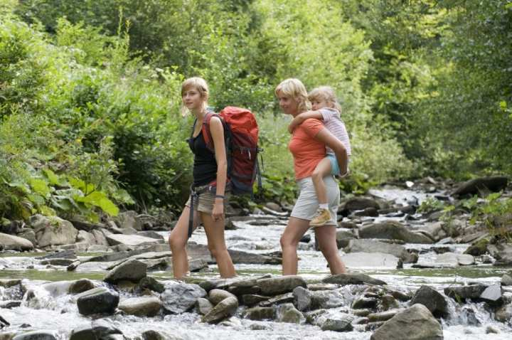 Hiking with Kids across a river