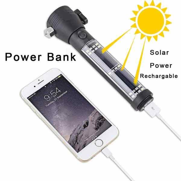 Multifunktionale LED-Taschenlampe / Powerbank mit Solar