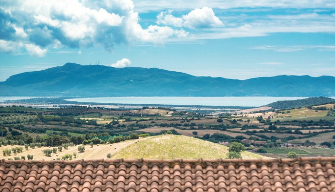 Panorama on Argentario and Ansedonia, Tuscany Italy