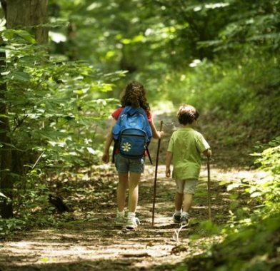 Image of kids hiking backpacks