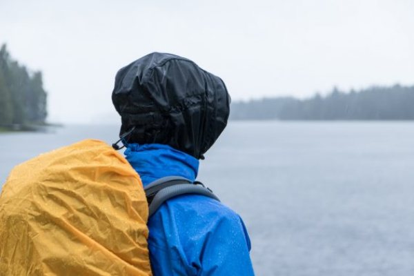 Iimage of rain jacket that folds into a pouch