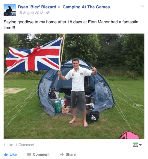 Campingninja Facebook Review London 2012 Olympics Union Jack Pic