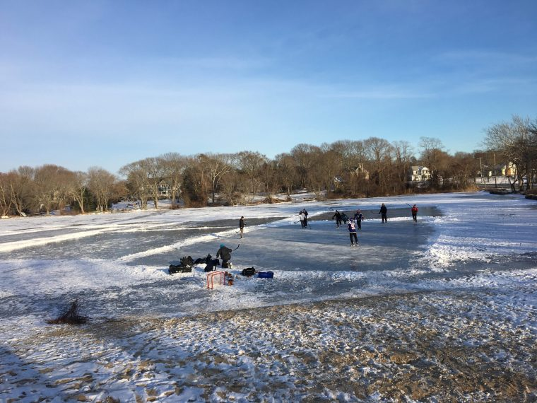 ice hockey on Kaler's Pond