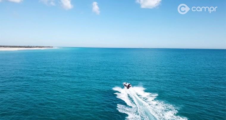 Boating across Moreton Bay to Moreton Island