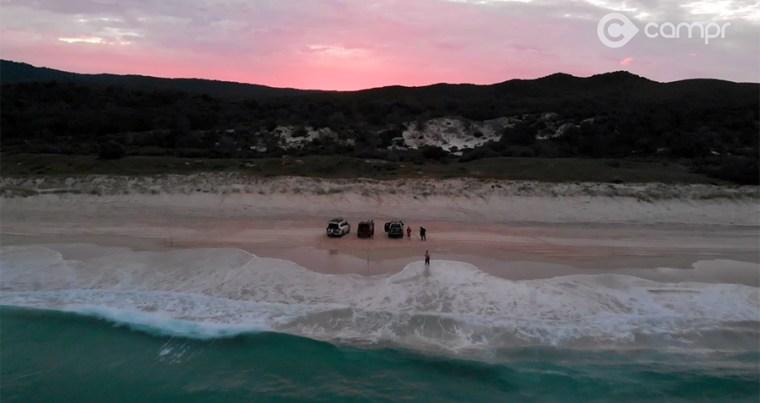 Beach fishing on Moreton Island